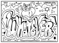 Never Give Up Graffiti, free printable colouring sheet