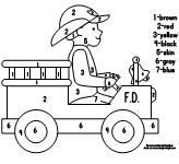 Free Trace and Color printable. Firefighter and fire truck