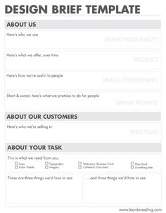 Product Design Brief Template Infography UX Knowledge