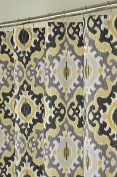 Custom IKAT Chevron Shower Curtain Any Color Shown Yellow Wht