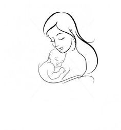 Acrylic painting mother silhouette with her baby vector on
