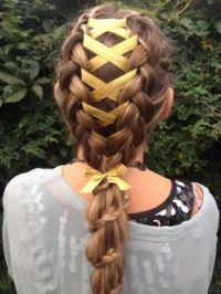 braided hair with ribbon | ... hair into two. Then you ...
