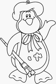 Penguin Coloring Pages : Cute Penguin On Christmas