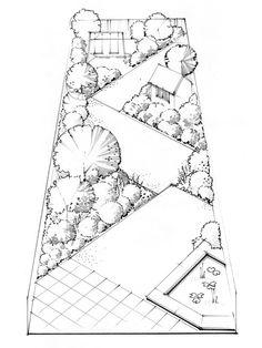Multiple Ideas For Long Thin Garden Designs Tuin Pinterest