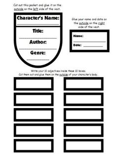 Character Body Book Report Projects: templates, printable