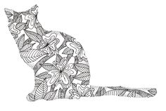 Cat Coloring Page Digital Stamp Wildflower by