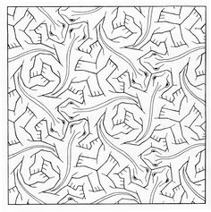 Bird Fish Tessellation by M.C. Escher coloring page