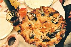 Stargazy pie (sometimes called starrey gazey pie or other variants) is a Cornish dish made of baked pilchards. along with eggs and potatoes ...