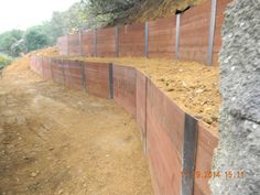 steel and lumber retaining wall