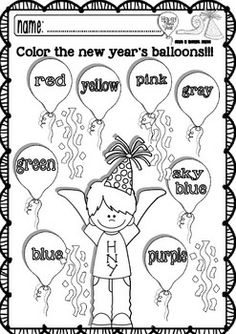 Worksheets for kindergarten, Happy new year and Worksheets