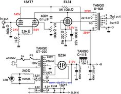 Circuit diagram 50W-70W Power Amplifier with 2N3055