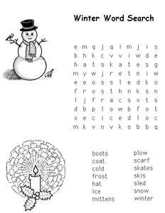 Free Kids Printable Activities: Easy Winter Word Search