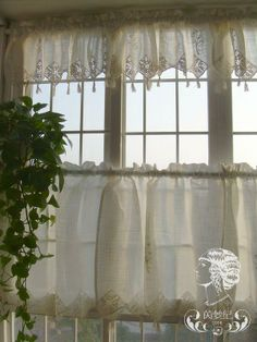 Lace Curtains Crochet Pattern Set Of French Country Lace Crochet