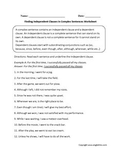 Complex Sentences Worksheet Writing Sentences