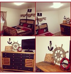 Noah S Pirate Bedroom Diy Ship Headboard And Repainted Dresser