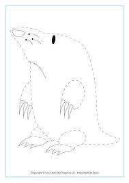 Mole pattern. Use the printable outline for crafts