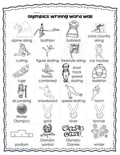 Winter Crossword Puzzle Olympic Sports Theme Vocabulary