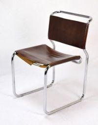 6 Habitat Bauhaus style brown leather and chromed tubular ...