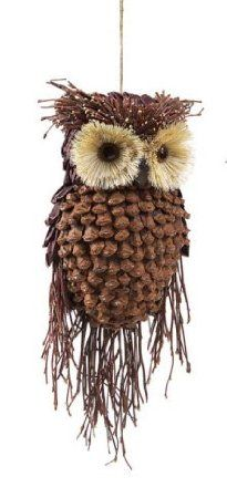 amazon com modern lodge pine cone and twig owl christmas ornament decoration