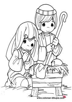 dibujo de niño jesus con la virgen maria y san jose de