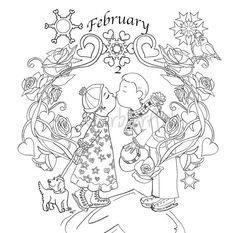 Coloring calendar 2016. March. Coloring Page. Adult