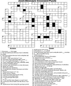 Free Kids Printable Activities: Dinosaur Crossword Hard