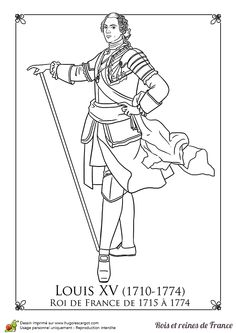 Louis XIV of France coloring page http://www.hugolescargot