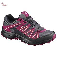 salomon chaussures de marche nordique pour femme rouge rose gris