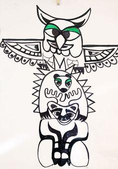 Totem Poles, : Animal Figure Totem Poles Coloring Page