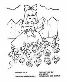 Nursery Rhyme Coloring: Mary, Mary, Quite Contrary