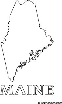Maine Map Coloring Page Coloring Pages