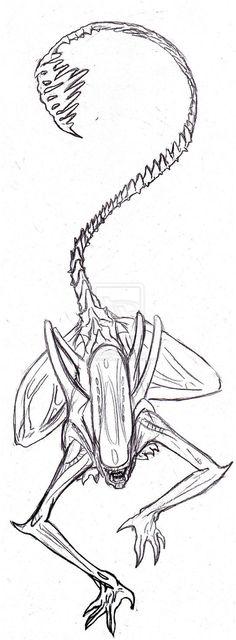 alien tattoo xenomorph giger predator tail tattoos skull drawing stencil deviantart stencils sketches vs around drawings want zeichnen ideen besuchen
