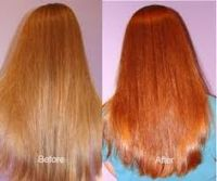 Lush's Henna hair dye: Caca Marron. Before and after