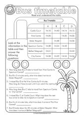 Bus timetable activity sheet Time and date worksheet