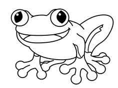 Black and white drawing of a tree frog