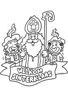 Een kleurplaat van Sinterklaas met kleurvakjes voor