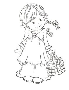 Thai girl coloring page. Colouring page. Thai child kid