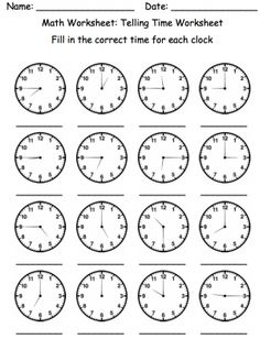 Telling time, Worksheets and Teaching time on Pinterest