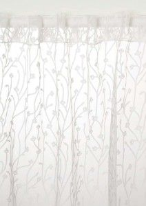 French Country Embroidered Leaves White Sheer Curtain Customized