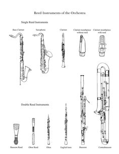 Pictures of the woodwind family to cut out and color