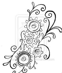 Steampunk Clock Gears Stencils Sketch Coloring Page