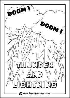 Cloud + Rain + Lightning Coloring Sheet #Weather #
