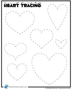 Tracing hearts worksheet. Can also be used for a pushpin
