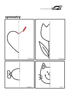 Coloring for kids. Complete Drawing the Halves. Use with
