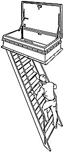 relationship of fixed ladder to a safe access hatch