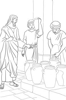 Jesus turns water into wine at a wedding in Cana (John 2