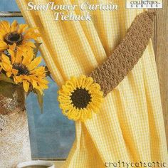 Crochet Home Decor Pattern 'Flower' Curtain Tie Back CRAFTS