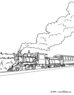 Railroad, : Amazing Steam Train on Railroad Coloring Page