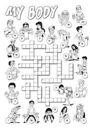 Crossword Puzzle Body Parts Helpful pre k worksheets for