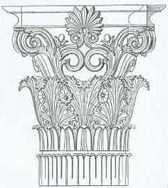 Greek Corinthian column capital illustration. Historic